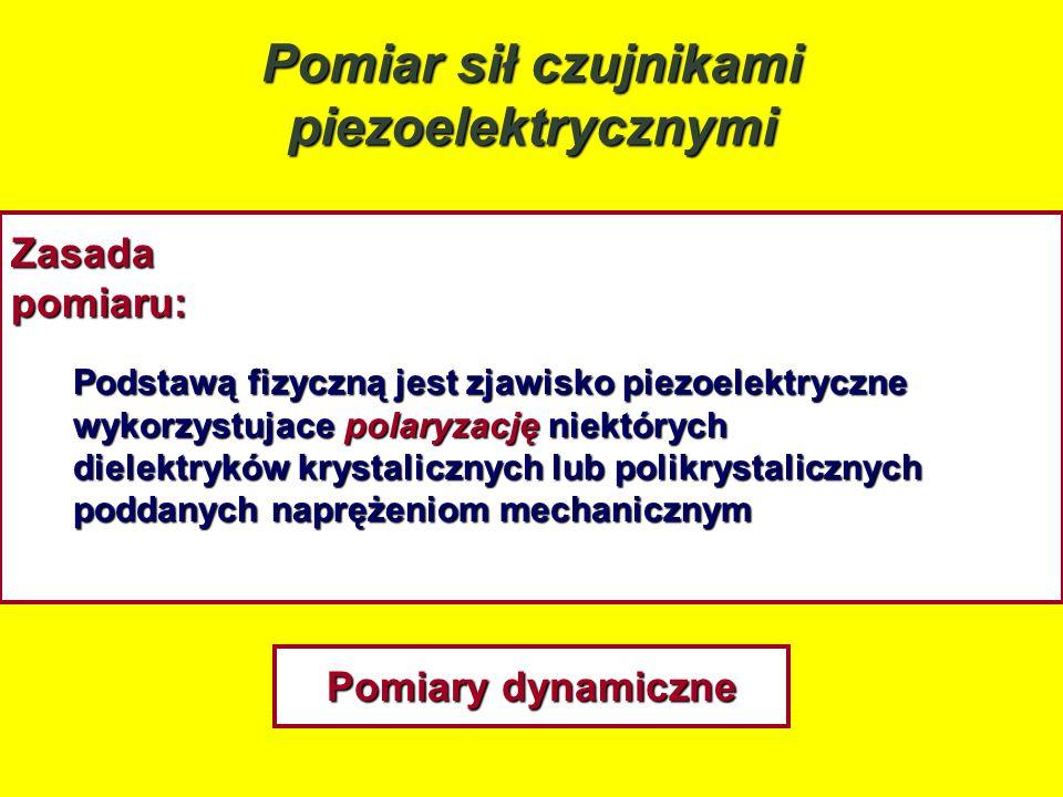 Pomiar sił czujnikami piezoelektrycznymi Zasadapomiaru: Podstawą fizyczną jest zjawisko piezoelektryczne wykorzystujace polaryzację niektórych dielekt