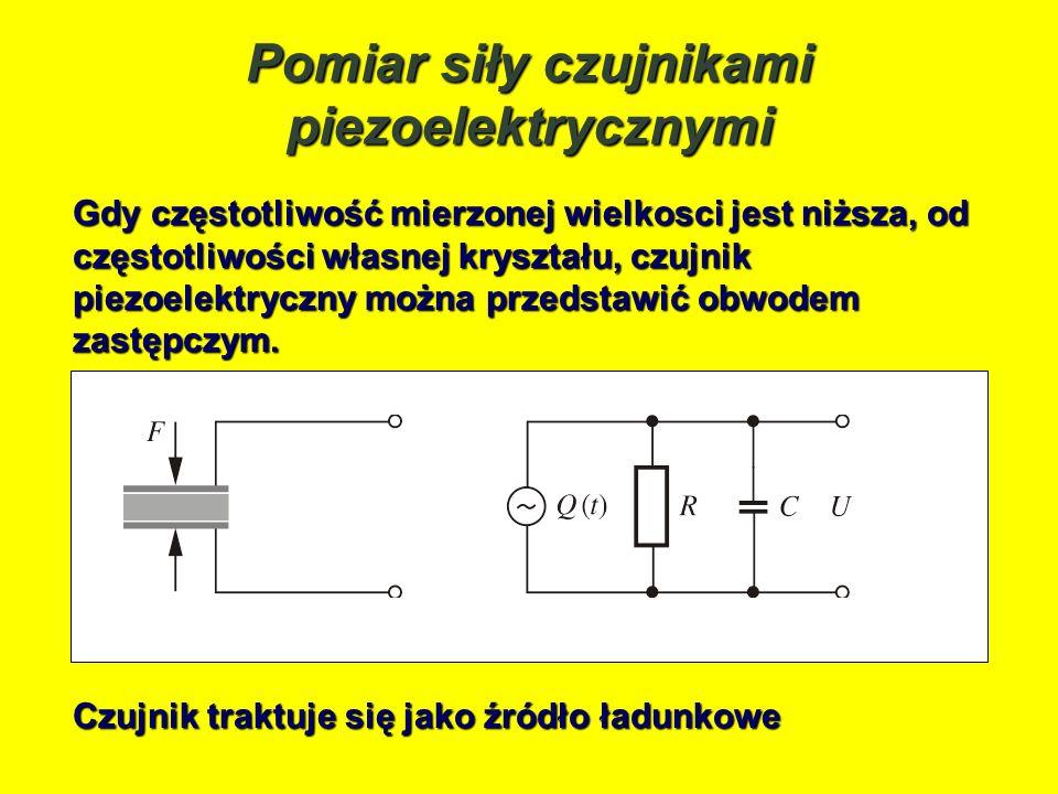 Czujnik traktuje się jako źródło ładunkowe Gdy częstotliwość mierzonej wielkosci jest niższa, od częstotliwości własnej kryształu, czujnik piezoelektr