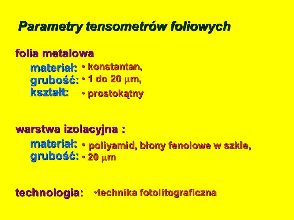 Parametry tensometrów foliowych folia metalowa technologia: technika fotolitograficznatechnika fotolitograficzna prostokątny prostokątnykształt: konst