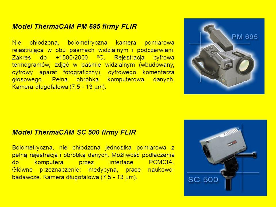 Model ThermaCAM PM 695 firmy FLIR Nie chłodzona, bolometryczna kamera pomiarowa rejestrująca w obu pasmach widzialnym i podczerwieni.