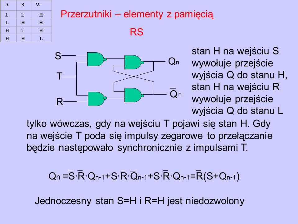 Przerzutniki – elementy z pamięcią RS ¯ (sterujące) S ¯ (reset) R stan H na wejściu S wywołuje przejście wyjścia Q do stanu H, stan H na wejściu R wywołuje przejście wyjścia Q do stanu L QnQn Q ¯ n¯ n S R T tylko wówczas, gdy na wejściu T pojawi się stan H.