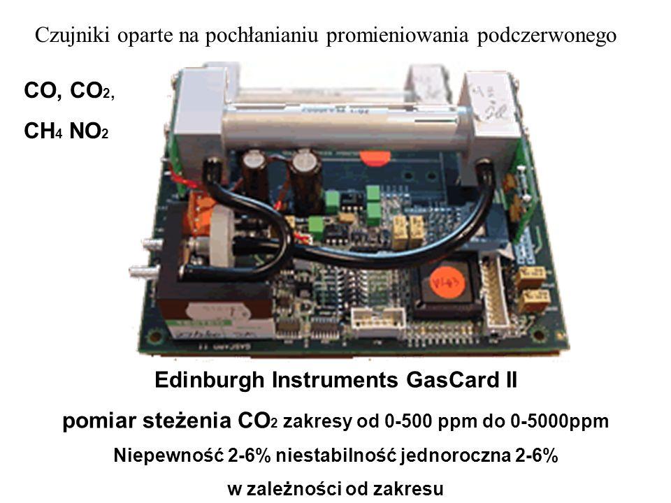 Edinburgh Instruments GasCard II pomiar steżenia CO 2 zakresy od 0-500 ppm do 0-5000ppm Niepewność 2-6% niestabilność jednoroczna 2-6% w zależności od