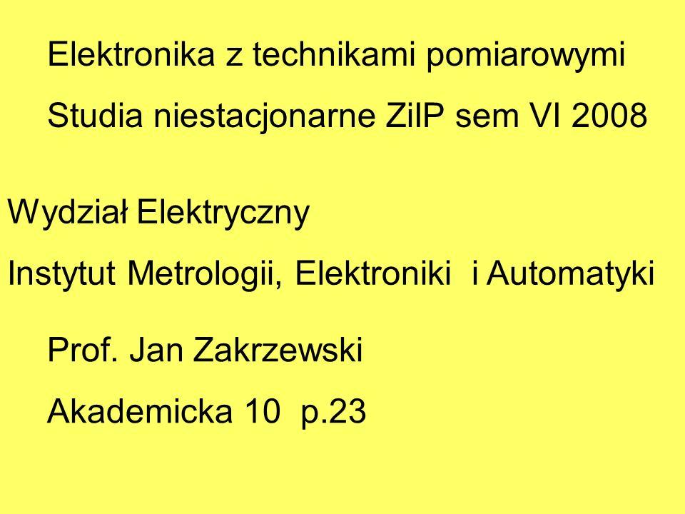 Elektronika z technikami pomiarowymi Studia niestacjonarne ZiIP sem VI 2008 Wydział Elektryczny Instytut Metrologii, Elektroniki i Automatyki Prof. Ja