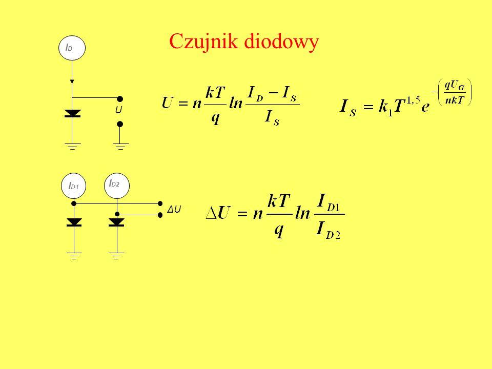 Czujnik diodowy U IDID ΔU I D1 I D2 IDID