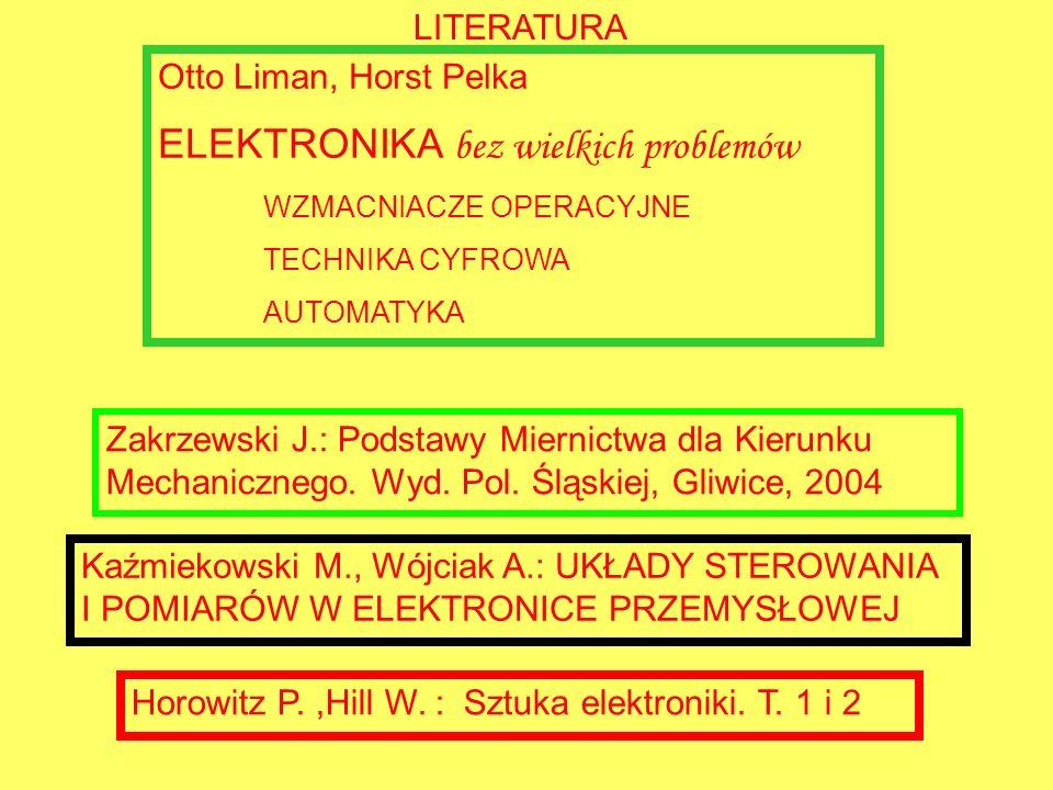 LITERATURA Otto Liman, Horst Pelka ELEKTRONIKA bez wielkich problemów WZMACNIACZE OPERACYJNE TECHNIKA CYFROWA AUTOMATYKA Horowitz P.,Hill W. : Sztuka