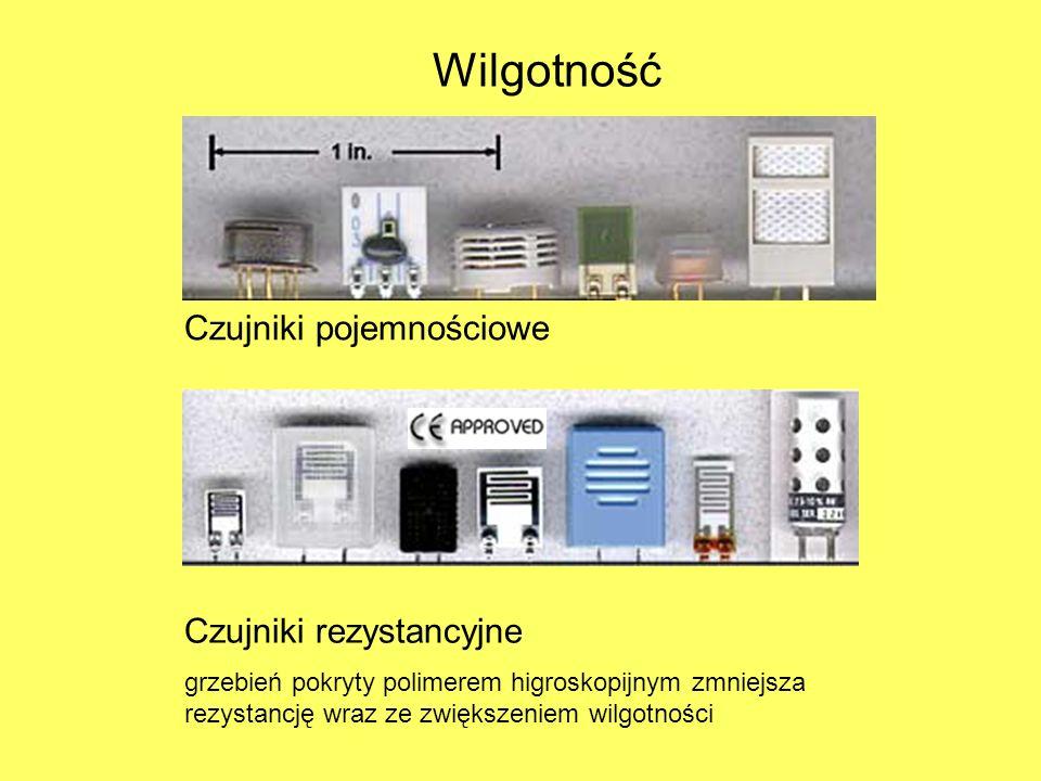 Czujniki pojemnościowe Czujniki rezystancyjne grzebień pokryty polimerem higroskopijnym zmniejsza rezystancję wraz ze zwiększeniem wilgotności