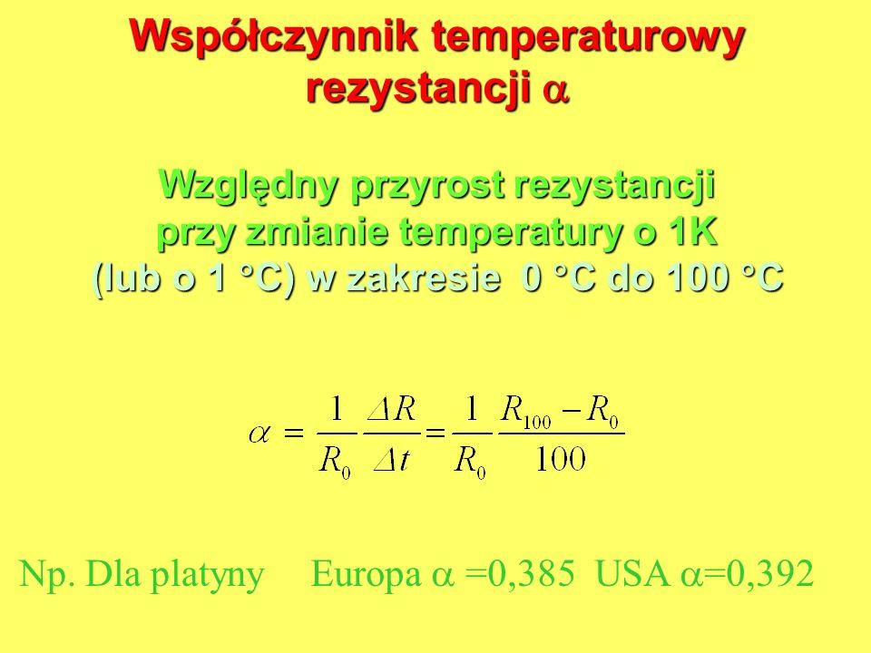 Współczynnik temperaturowy rezystancji Współczynnik temperaturowy rezystancji Względny przyrost rezystancji przy zmianie temperatury o 1K (lub o 1 C)
