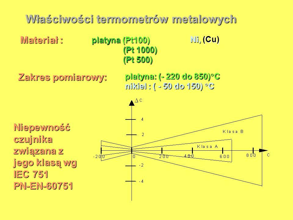 Właściwości termometrów metalowych Materiał : platyna (Pt100) (Pt 1000) (Pt 1000) (Pt 500) (Pt 500) Ni, (Cu) Zakres pomiarowy: platyna: (- 220 do 850)