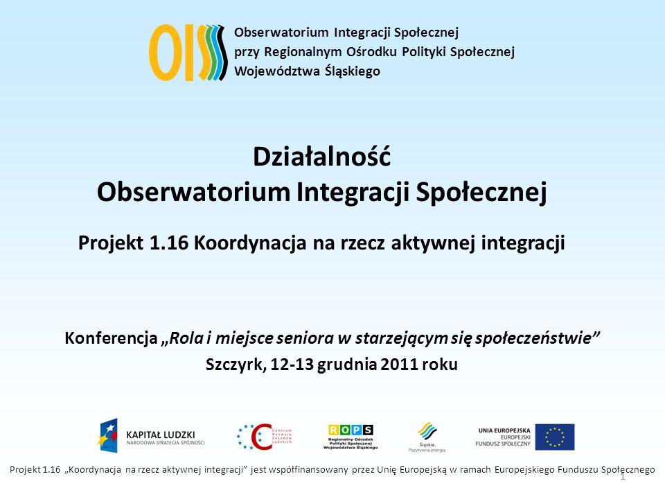 1 Działalność Obserwatorium Integracji Społecznej Projekt 1.16 Koordynacja na rzecz aktywnej integracji Konferencja Rola i miejsce seniora w starzejąc