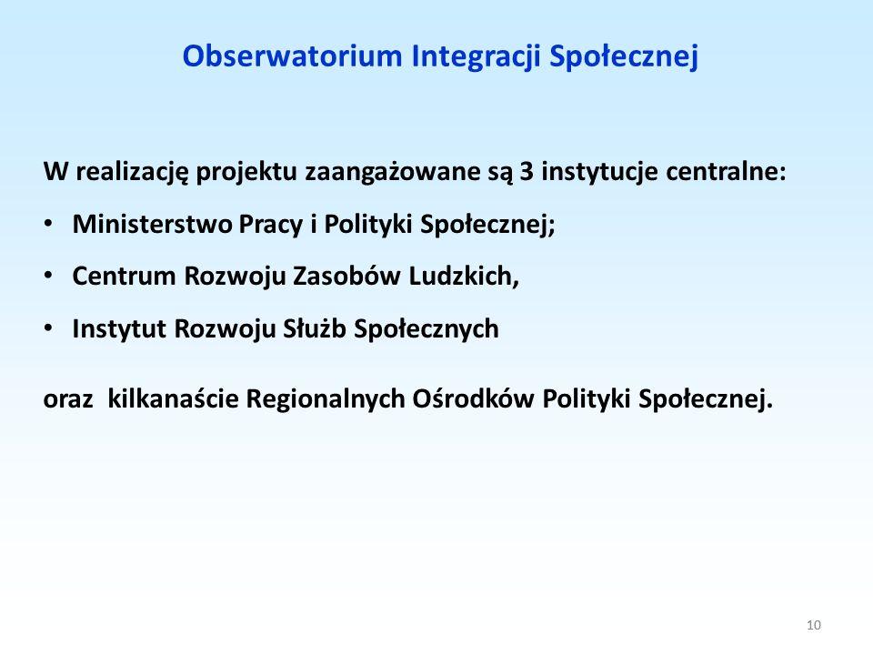 10 Obserwatorium Integracji Społecznej 10 W realizację projektu zaangażowane są 3 instytucje centralne: Ministerstwo Pracy i Polityki Społecznej; Cent
