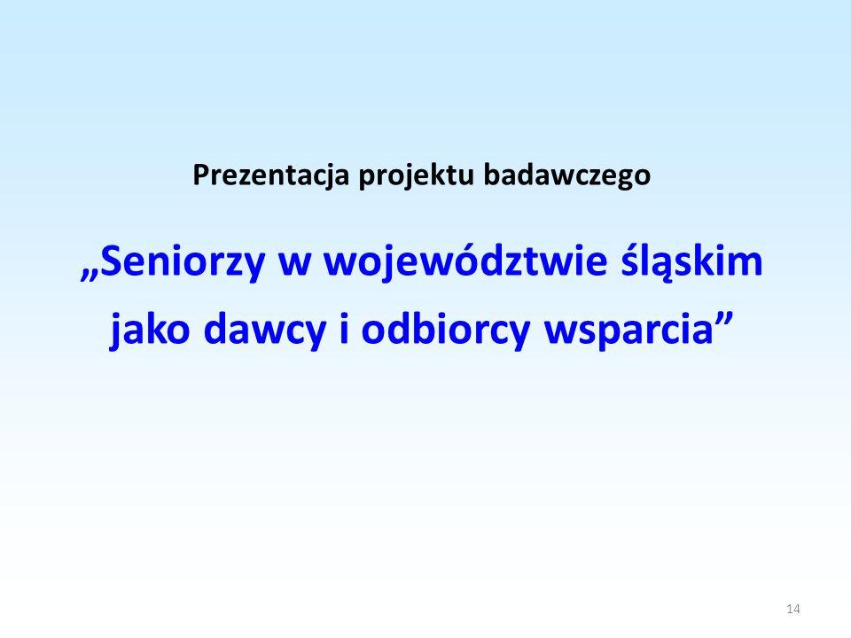 14 Prezentacja projektu badawczego Seniorzy w województwie śląskim jako dawcy i odbiorcy wsparcia