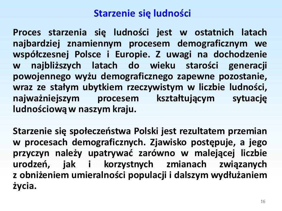16 Proces starzenia się ludności jest w ostatnich latach najbardziej znamiennym procesem demograficznym we współczesnej Polsce i Europie. Z uwagi na d