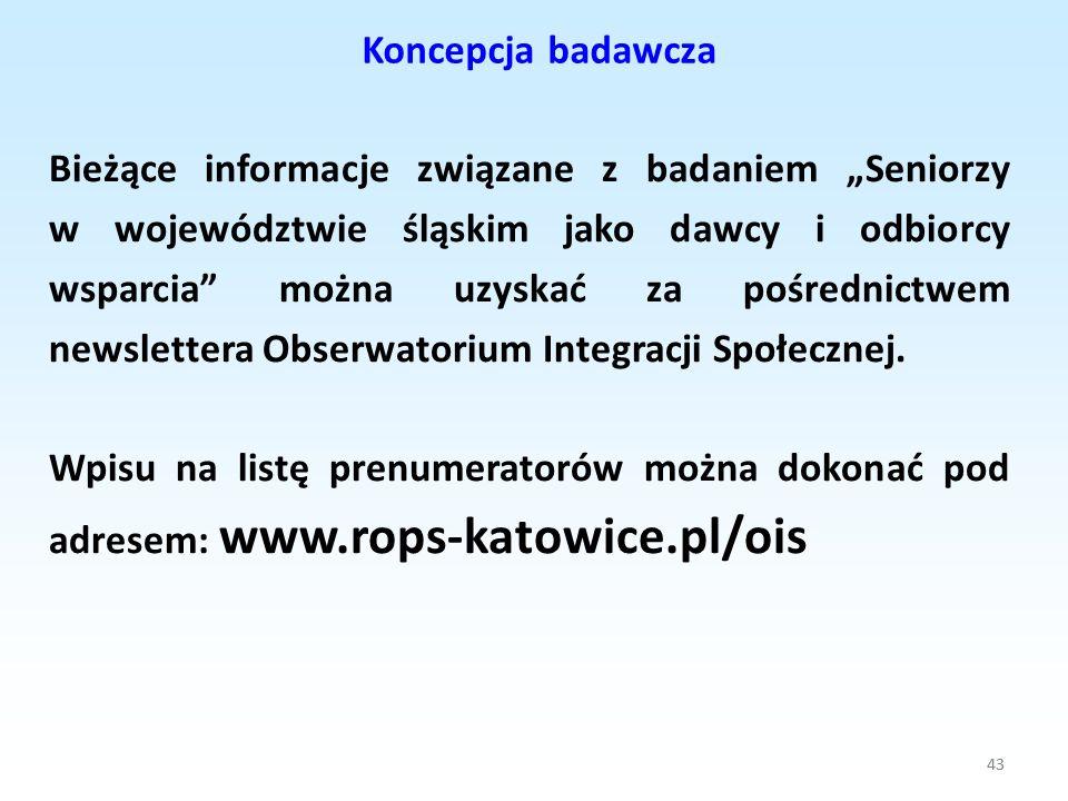 43 Koncepcja badawcza 43 Bieżące informacje związane z badaniem Seniorzy w województwie śląskim jako dawcy i odbiorcy wsparcia można uzyskać za pośred