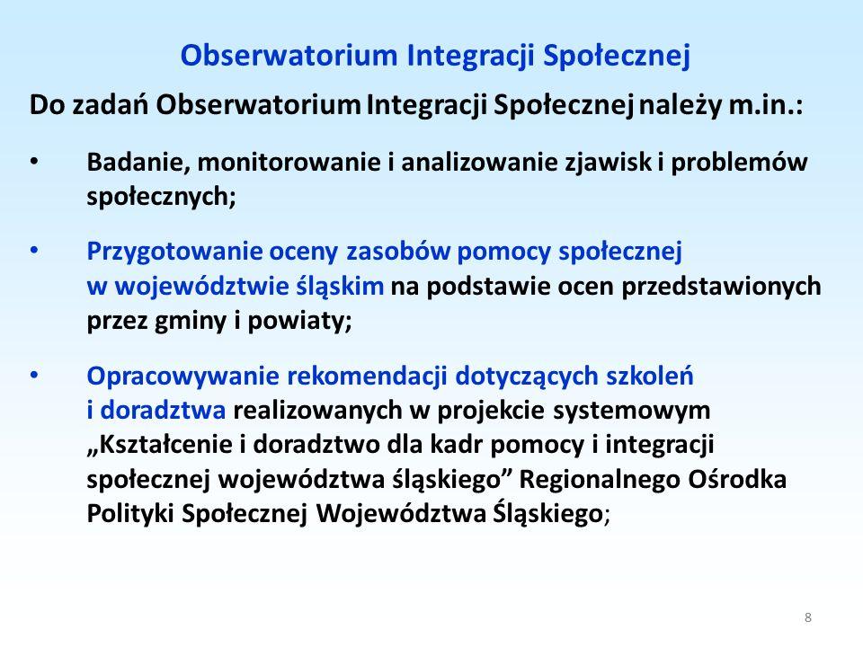 8 Do zadań Obserwatorium Integracji Społecznej należy m.in.: Badanie, monitorowanie i analizowanie zjawisk i problemów społecznych; Przygotowanie ocen