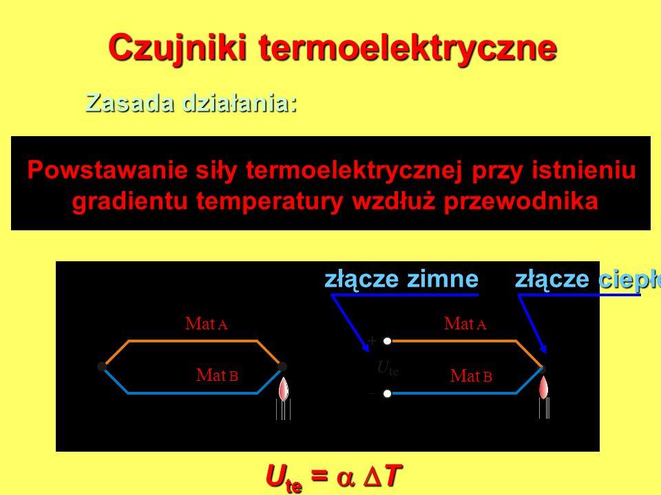 Czujniki termoelektryczne Zasada działania: Powstawanie siły termoelektrycznej przy istnieniu gradientu temperatury wzdłuż przewodnika gradientu tempe