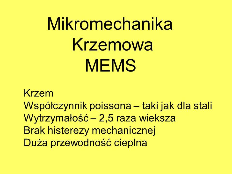 Mikromechanika Krzemowa MEMS Krzem Współczynnik poissona – taki jak dla stali Wytrzymałość – 2,5 raza wieksza Brak histerezy mechanicznej Duża przewod