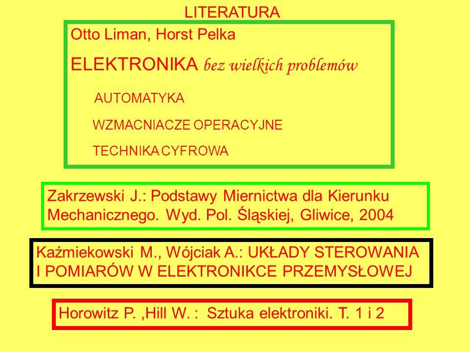LITERATURA Otto Liman, Horst Pelka ELEKTRONIKA bez wielkich problemów AUTOMATYKA WZMACNIACZE OPERACYJNE TECHNIKA CYFROWA Horowitz P.,Hill W. : Sztuka
