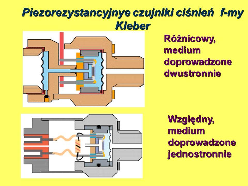 Różnicowy, medium doprowadzone dwustronnie Względny, medium doprowadzone jednostronnie Piezorezystancyjnye czujniki ciśnień f-my Kleber