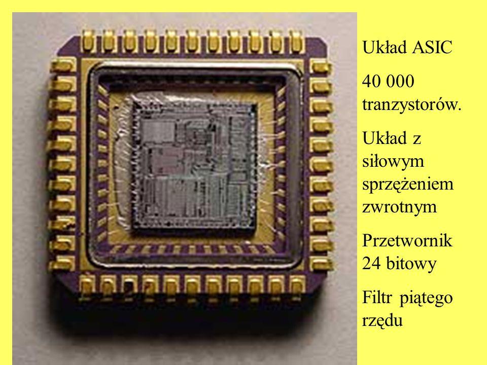 Układ ASIC 40 000 tranzystorów. Układ z siłowym sprzężeniem zwrotnym Przetwornik 24 bitowy Filtr piątego rzędu