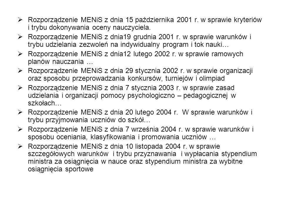 Rozporządzenie MENiS z dnia 15 października 2001 r. w sprawie kryteriów i trybu dokonywania oceny nauczyciela. Rozporządzenie MENiS z dnia19 grudnia 2