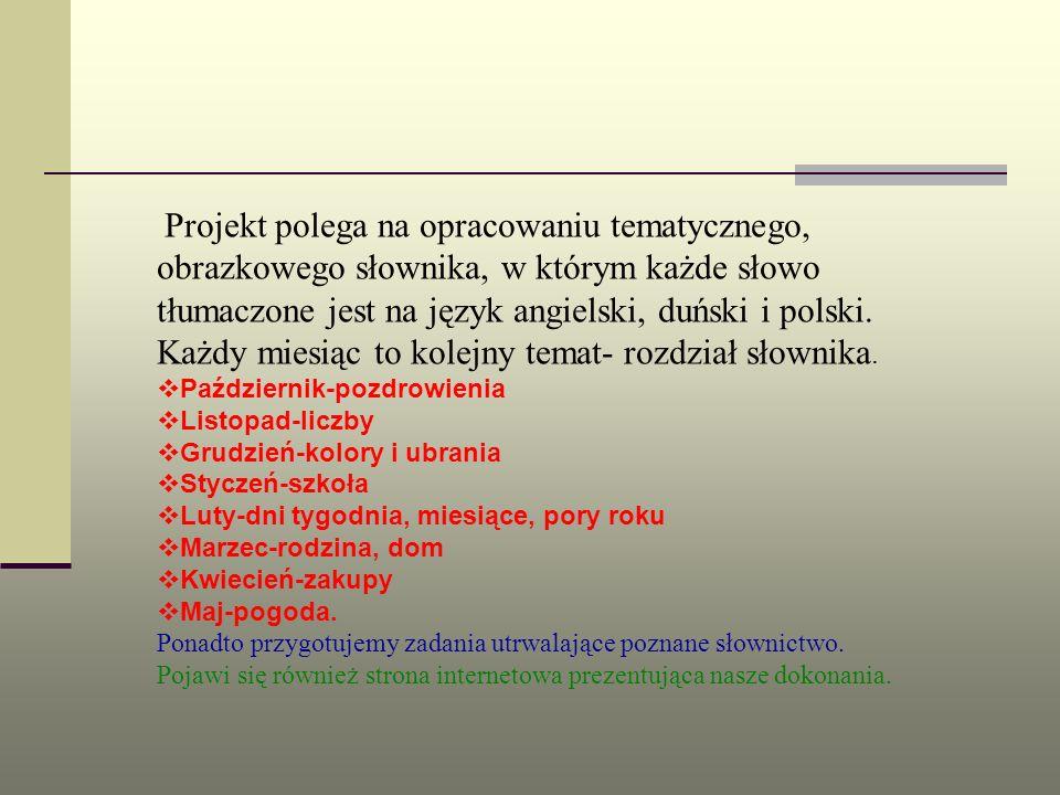 Projekt polega na opracowaniu tematycznego, obrazkowego słownika, w którym każde słowo tłumaczone jest na język angielski, duński i polski. Każdy mies