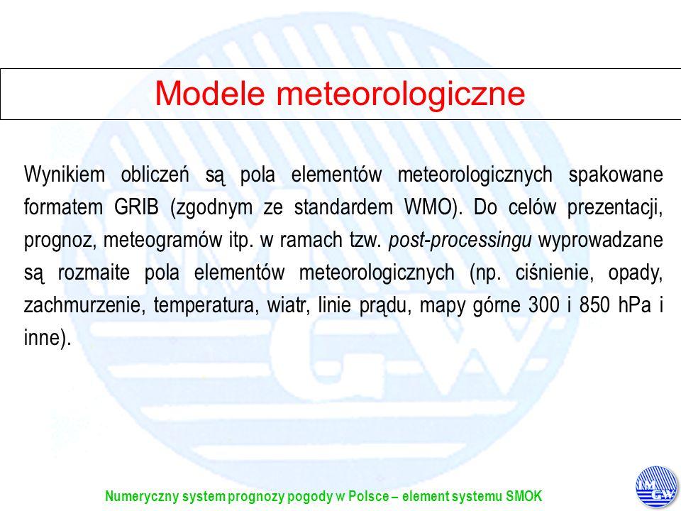 Numeryczny system prognozy pogody w Polsce – element systemu SMOK Modele meteorologiczne Wynikiem obliczeń są pola elementów meteorologicznych spakowa