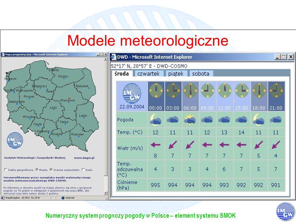 Numeryczny system prognozy pogody w Polsce – element systemu SMOK Modele meteorologiczne Na stronie internetowej IMGW (www.imgw.pl) przygotowywane są