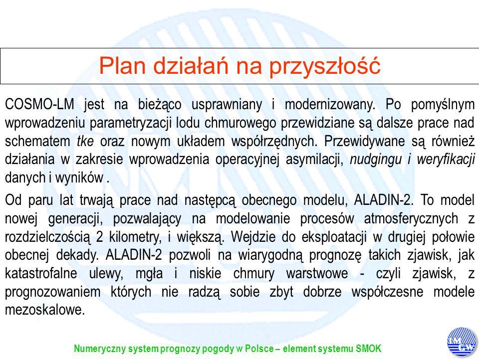 Numeryczny system prognozy pogody w Polsce – element systemu SMOK Plan działań na przyszłość Od paru lat trwają prace nad następcą obecnego modelu, AL