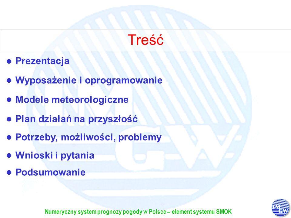 Numeryczny system prognozy pogody w Polsce – element systemu SMOK Cel: Wdrożenie meteorologicznych modeli prognostycznych do praktyki operacyjnej Prezentacja zakup, implementacja i uruchomienie superkomputera, na którym liczone byłyby operacyjnie odpowiednie modele meteorologiczne pozyskanie, implementacja i uruchomienie meteorologicznych modeli prognostycznych operacyjna praca modeli, udostępnianie wyników zainteresowanym użytkownikom, a zwłaszcza służbie hydrologicznej i meteorologicznej Cel: Wdrożenie meteorologicznych modeli prognostycznych do praktyki operacyjnej w ramach systemu SMOK