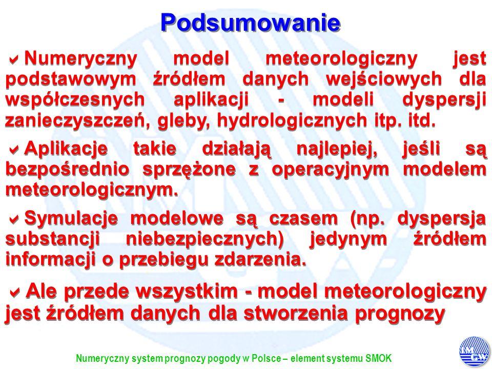 Numeryczny system prognozy pogody w Polsce – element systemu SMOK Numeryczny model meteorologiczny jest podstawowym źródłem danych wejściowych dla wsp