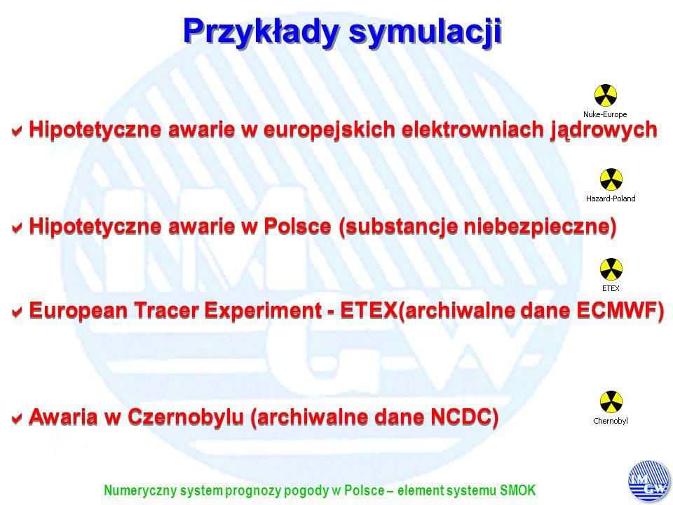 Numeryczny system prognozy pogody w Polsce – element systemu SMOK Przykłady symulacji Hipotetyczne awarie w europejskich elektrowniach jądrowych Hipot