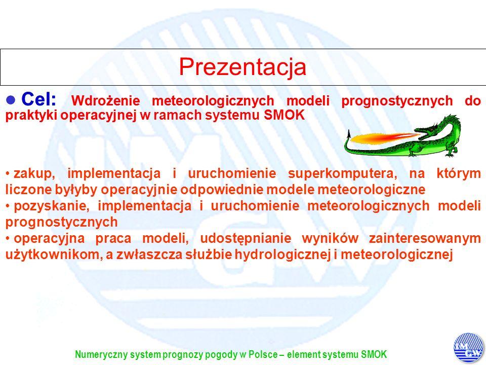 Numeryczny system prognozy pogody w Polsce – element systemu SMOK Wyposażenie i oprogramowanie (elementy kluczowe) Platforma sprzętowa: SGI 3800 100CPU (100GFlops) SGI 3200 8CPU OS + programy narzędziowe Modele pogodowe: COSMO-LM + ALADIN Dane we/wyProdukty modeli