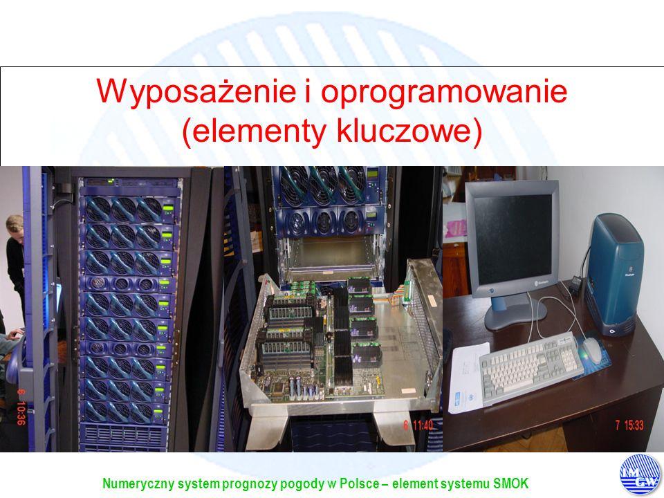 Numeryczny system prognozy pogody w Polsce – element systemu SMOK Wyposażenie i oprogramowanie (elementy kluczowe) Platforma sprzętowa: SGI 3800 100CP