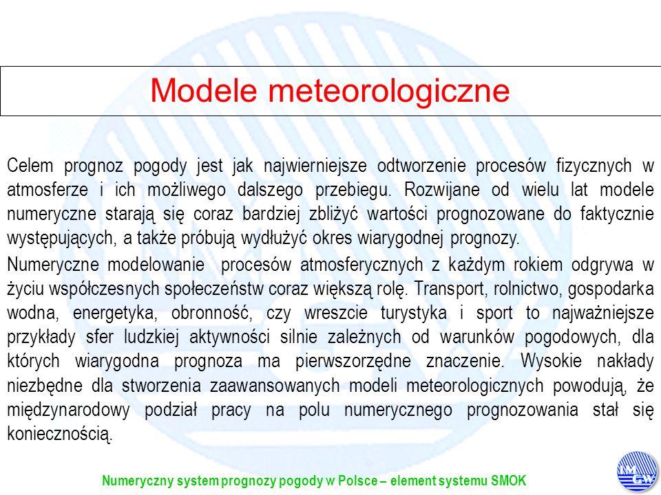 Numeryczny system prognozy pogody w Polsce – element systemu SMOK W chwili obecnej w Ośrodku Głównym IMGW w Warszawie w trybie operacyjnym pracuje model lokalny, jako efektywny produkt współpracy IMGW w ramach Konsorcjum Modelowania Mezoskalowego COSMO (Consortium for Small Scale Modelling), pozyskany i uruchomiony dzięki kooperacji z Deutscher Wetter Dienst.