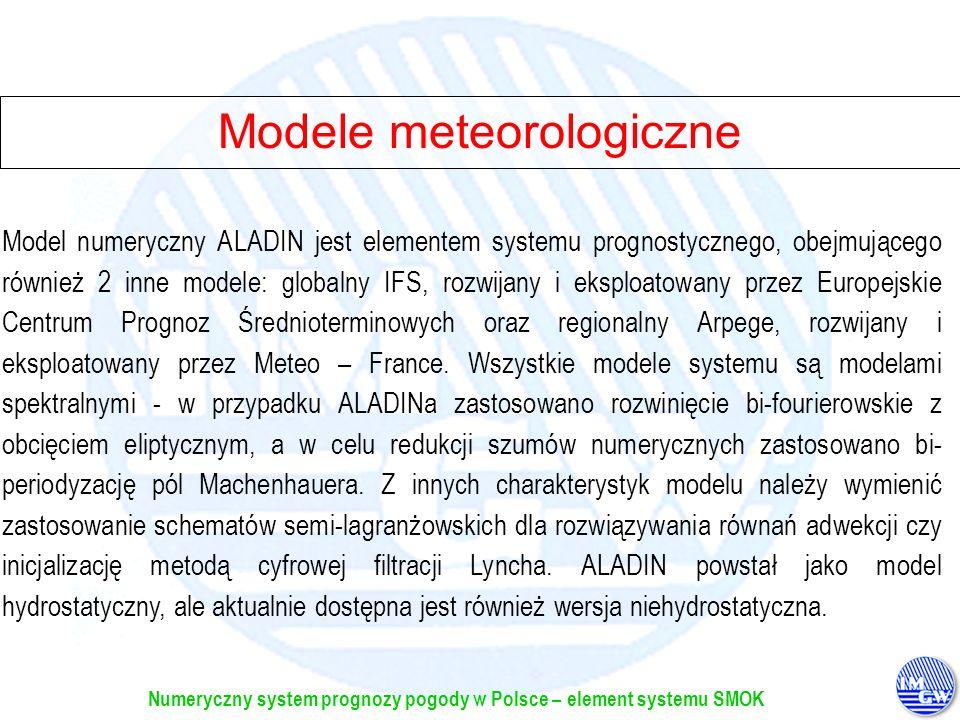 Numeryczny system prognozy pogody w Polsce – element systemu SMOK Modele meteorologiczne Model numeryczny ALADIN jest elementem systemu prognostyczneg