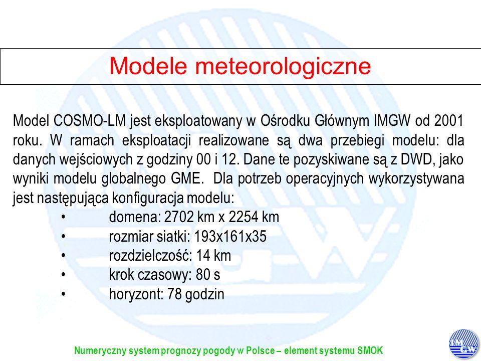 Numeryczny system prognozy pogody w Polsce – element systemu SMOK Potrzeby, możliwości, problemy Potrzeby produkcja danych dla Służby H-M produkcja danych dla innych użytkowników i klientów Możliwości przygotowanie prognoz numerycznych z wyprzedzeniem co najmniej na 24 h, w rozdzielczości czasowej przynajmniej 3 h, w czasie nie dłuższym niż 2 h przygotowanie przetworzonych (dedykowanych) wyników w ustalonym formacie, dla zadanego okresu i określonej domeny, dla różnych aplikacji Problemy i zadania na przyszłość procedury alternatywne w przypadku ograniczonego dostępu do danych wejściowych...