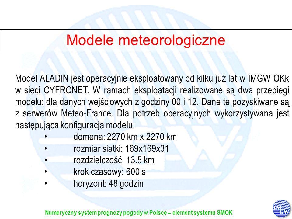 Numeryczny system prognozy pogody w Polsce – element systemu SMOK Model ALADIN jest operacyjnie eksploatowany od kilku już lat w IMGW OKk w sieci CYFR