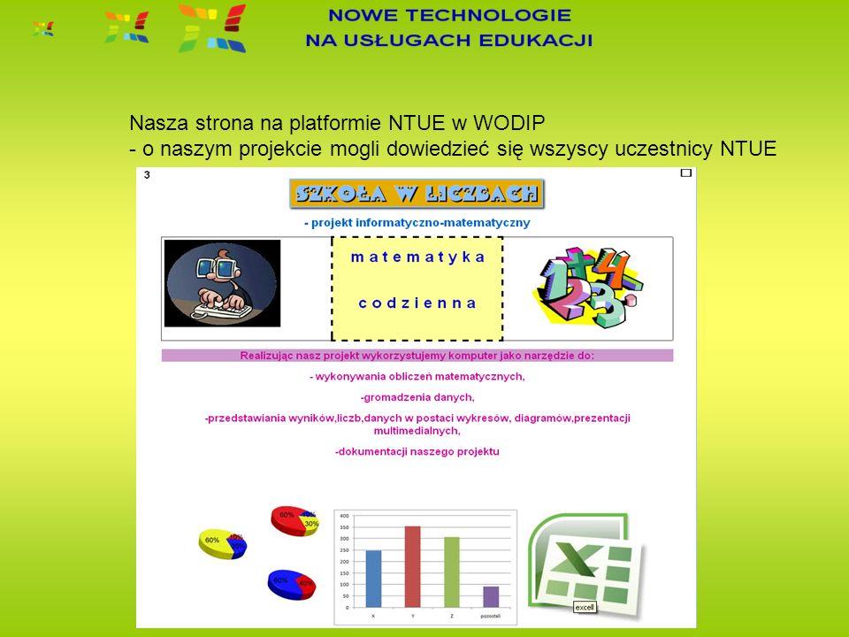 Nasza strona na platformie NTUE w WODIP - o naszym projekcie mogli dowiedzieć się wszyscy uczestnicy NTUE