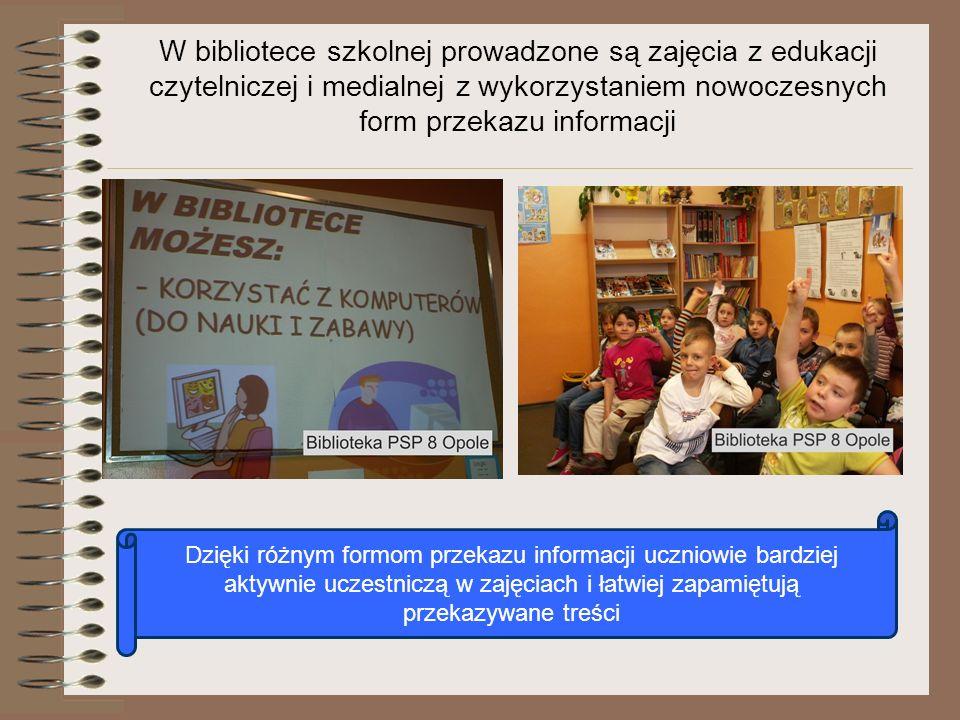 W bibliotece szkolnej prowadzone są zajęcia z edukacji czytelniczej i medialnej z wykorzystaniem nowoczesnych form przekazu informacji Dzięki różnym f