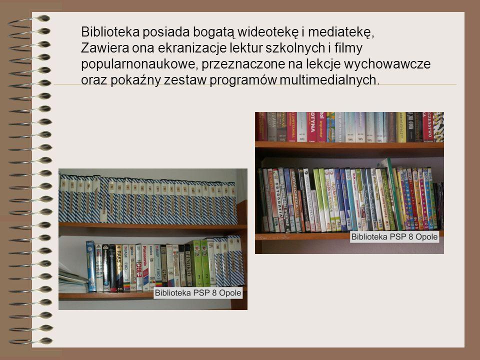 Biblioteka posiada bogatą wideotekę i mediatekę, Zawiera ona ekranizacje lektur szkolnych i filmy popularnonaukowe, przeznaczone na lekcje wychowawcze