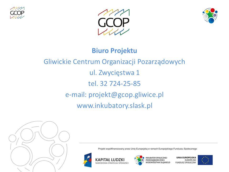 Biuro Projektu Gliwickie Centrum Organizacji Pozarządowych ul. Zwycięstwa 1 tel. 32 724-25-85 e-mail: projekt@gcop.gliwice.pl www.inkubatory.slask.pl