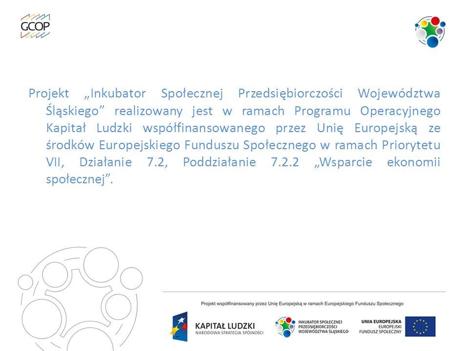 Projekt Inkubator Społecznej Przedsiębiorczości Województwa Śląskiego realizowany jest w ramach Programu Operacyjnego Kapitał Ludzki współfinansowaneg