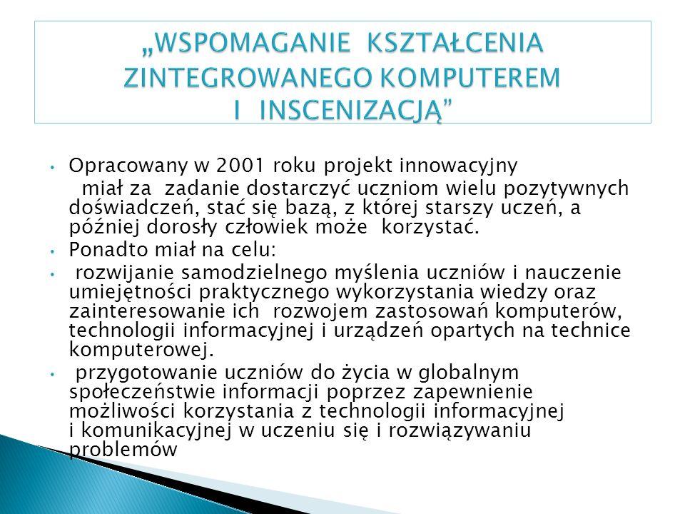 Opracowany w 2001 roku projekt innowacyjny miał za zadanie dostarczyć uczniom wielu pozytywnych doświadczeń, stać się bazą, z której starszy uczeń, a później dorosły człowiek może korzystać.