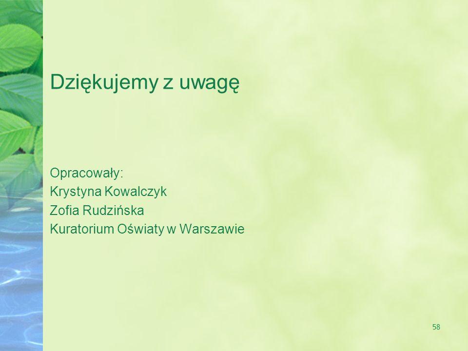 58 Dziękujemy z uwagę Opracowały: Krystyna Kowalczyk Zofia Rudzińska Kuratorium Oświaty w Warszawie