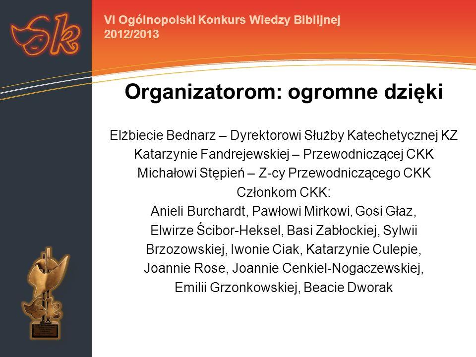 Organizatorom: ogromne dzięki Elżbiecie Bednarz – Dyrektorowi Służby Katechetycznej KZ Katarzynie Fandrejewskiej – Przewodniczącej CKK Michałowi Stępi