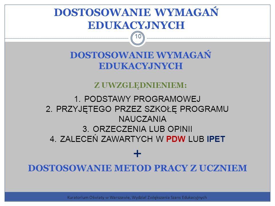 Kuratorium Oświaty w Warszawie, Wydział Zwiększania Szans Edukacyjnych 10 DOSTOSOWANIE WYMAGAŃ EDUKACYJNYCH Z UWZGLĘDNIENIEM: 1.PODSTAWY PROGRAMOWEJ 2.PRZYJĘTEGO PRZEZ SZKOŁĘ PROGRAMU NAUCZANIA 3.ORZECZENIA LUB OPINII 4.ZALECEŃ ZAWARTYCH W PDW LUB IPET + DOSTOSOWANIE METOD PRACY Z UCZNIEM DOSTOSOWANIE WYMAGAŃ EDUKACYJNYCH