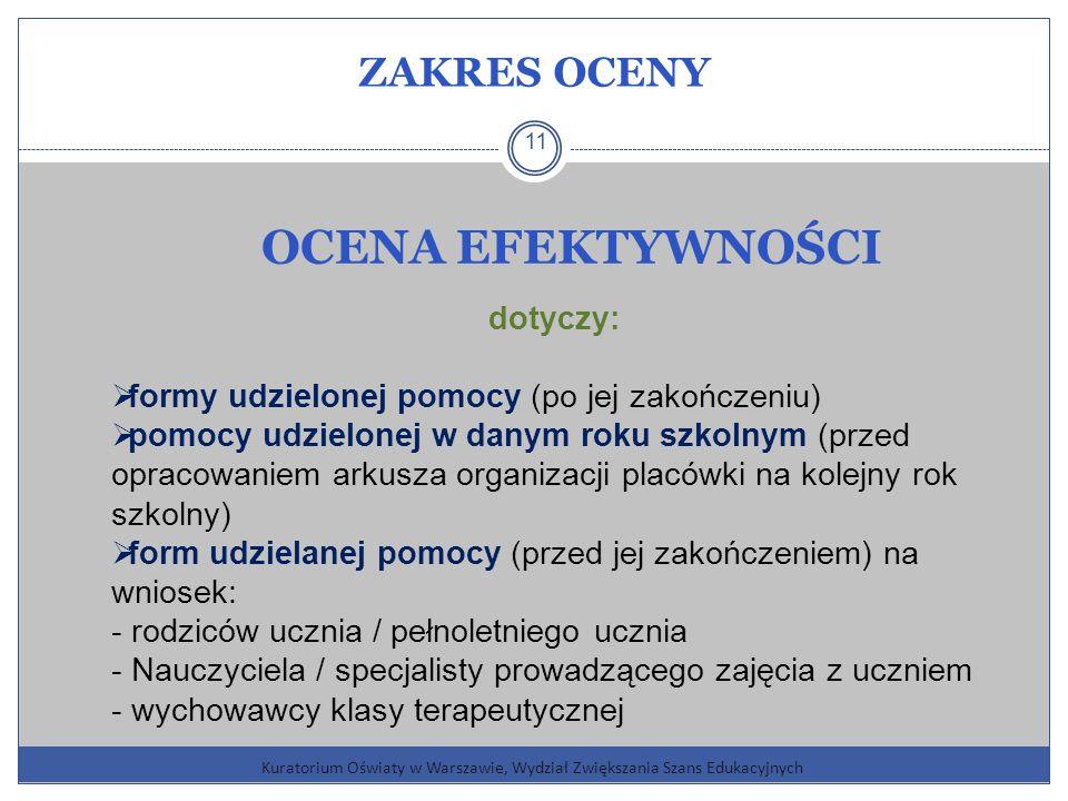 ZAKRES OCENY Kuratorium Oświaty w Warszawie, Wydział Zwiększania Szans Edukacyjnych 11 OCENA EFEKTYWNOŚCI dotyczy: formy udzielonej pomocy (po jej zakończeniu) pomocy udzielonej w danym roku szkolnym (przed opracowaniem arkusza organizacji placówki na kolejny rok szkolny) form udzielanej pomocy (przed jej zakończeniem) na wniosek: - rodziców ucznia / pełnoletniego ucznia - Nauczyciela / specjalisty prowadzącego zajęcia z uczniem - wychowawcy klasy terapeutycznej