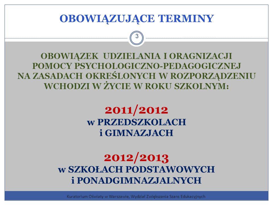OBOWIĄZUJĄCE TERMINY Kuratorium Oświaty w Warszawie, Wydział Zwiększania Szans Edukacyjnych 3 OBOWIĄZEK UDZIELANIA I ORAGNIZACJI POMOCY PSYCHOLOGICZNO-PEDAGOGICZNEJ NA ZASADACH OKREŚLONYCH W ROZPORZĄDZENIU WCHODZI W ŻYCIE W ROKU SZKOLNYM: 2011/2012 w PRZEDSZKOLACH i GIMNAZJACH 2012/2013 w SZKOŁACH PODSTAWOWYCH i PONADGIMNAZJALNYCH