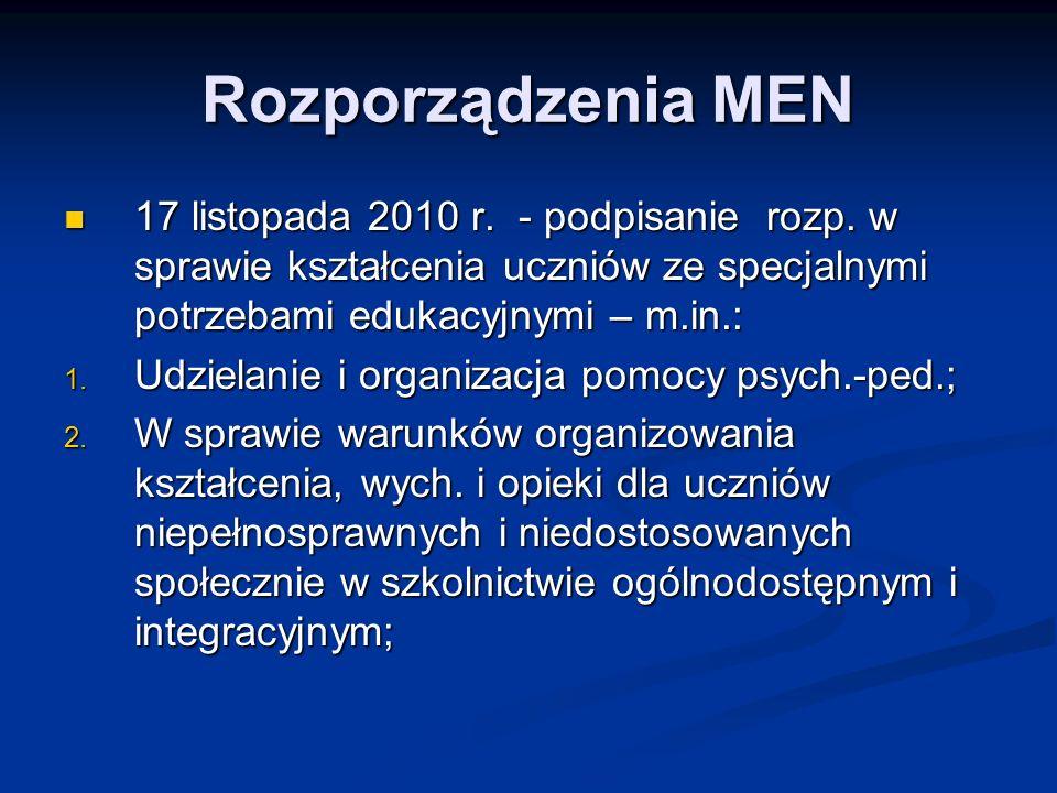 Rozporządzenia MEN 17 listopada 2010 r. - podpisanie rozp. w sprawie kształcenia uczniów ze specjalnymi potrzebami edukacyjnymi – m.in.: 17 listopada