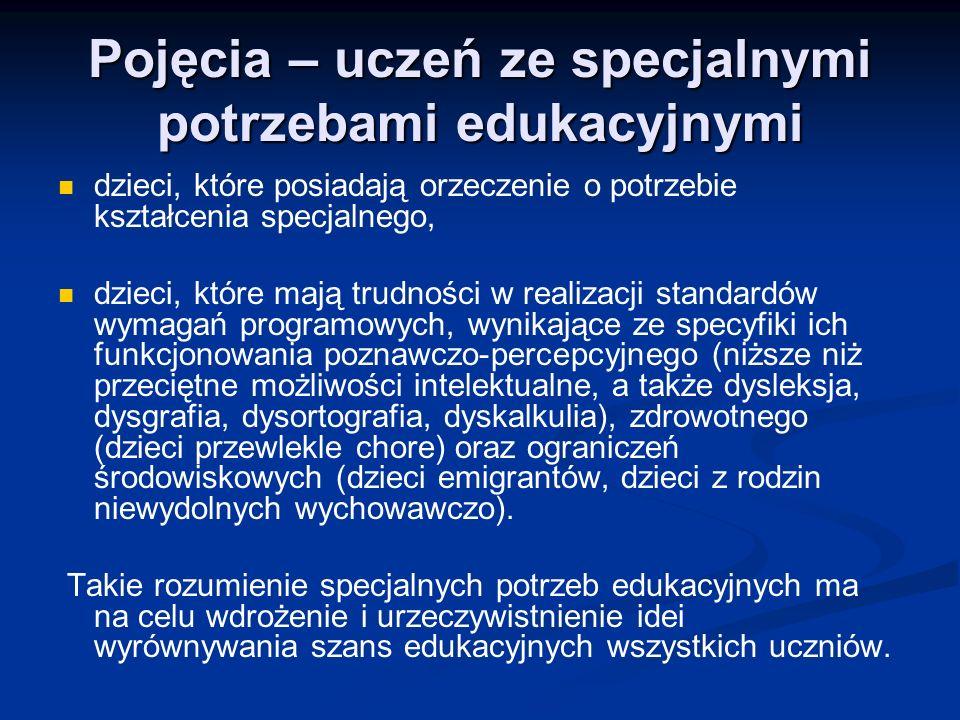 Pojęcia – uczeń ze specjalnymi potrzebami edukacyjnymi dzieci, które posiadają orzeczenie o potrzebie kształcenia specjalnego, dzieci, które mają trudności w realizacji standardów wymagań programowych, wynikające ze specyfiki ich funkcjonowania poznawczo-percepcyjnego (niższe niż przeciętne możliwości intelektualne, a także dysleksja, dysgrafia, dysortografia, dyskalkulia), zdrowotnego (dzieci przewlekle chore) oraz ograniczeń środowiskowych (dzieci emigrantów, dzieci z rodzin niewydolnych wychowawczo).